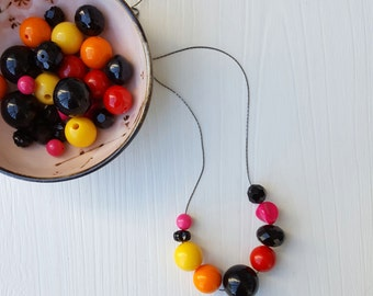 orange is the new necklace - vintage remixed lucite