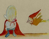 The Flyers / 11 x 14 Matted Archival Print / New / Children's Art / Cape / Whimsical / Reduced