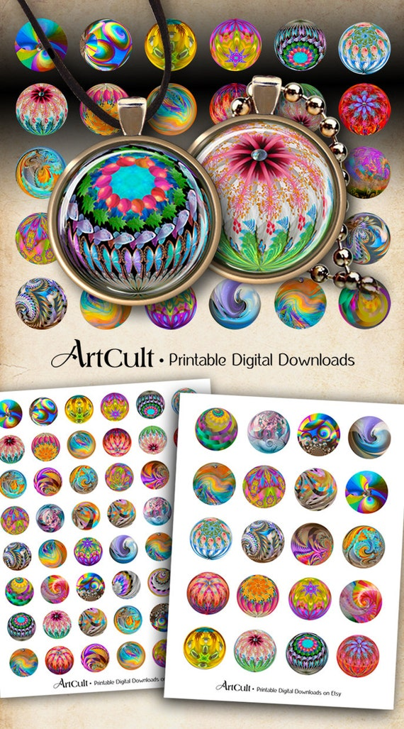 """1"""" (25mm) and 1.5"""" size circle Images MAGIC MARBLES Digital Collage Sheets Printable downloads for pendants bottle caps bezel trays magnets"""