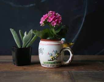 Vintage Childs Cup or Mug 60s With Bird on Handle Whistle For Milk Written on Side Great Succulent Planter From Nowvintage on Etsy
