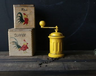 Rare Primitive Coffee Grinder Coffee Mill Yellow Manual Hand Grinder Kitchen Vintage From Nowvintage on Etsy