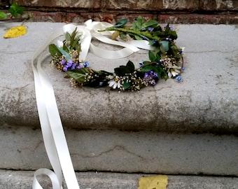 Grecian Headdress Flower crown leafy Tuscan Bridal headpiece by Michele AmoreBride blue lavender vine hairwreath  wedding accessories gothic