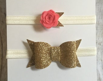 gold glitter bow and rosette flower headband set