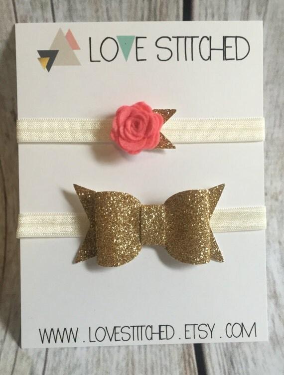gold glitter bow and rosette flower headband set