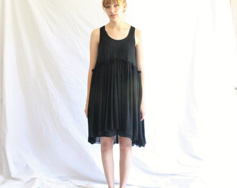 black minimalist lbd dress | chiffon little black dress