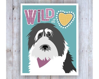 Wild at Heart Art, Teen Room Decor, Gifts for Teen Girls, Teen Prints, Teen Art, Teen Wall Art, Fun Art, Dog Art, Sheepdog Art, Dog Lover