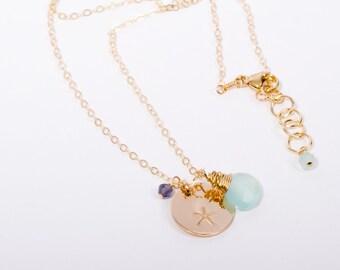 Starfish Necklace, Gold Starfish Necklace, Starfish, Beach Jewelry, Delicate Necklace, Mint Necklace, Seafoam Necklace, 14K Gold Necklace