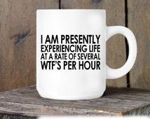 Coworker Gift, Coffee Mug, WTF's Per Hour Mug, Novelty Ceramic Mug, Humorous Quote Mug, Funny Coffee Cup Boss Gift Idea, Mug Exchange
