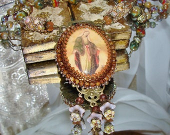 Our Lady of Guadalupe bead embroidery pendant picasso beads prayer necklace Sacred Jewelry Pamelia Designs