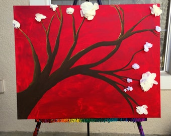 Handmade Cherry Blossom Painting, Tree Painting, Asian Wall Decor, Red Wall Art, Brown Tree Wall Hanging, Red Acrylic Painting Canvas Art