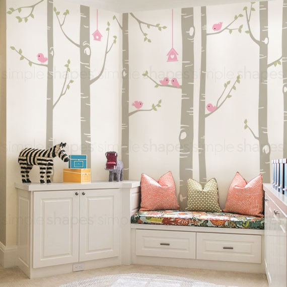 Birch Tree Decal Birds Wall Sticker Set Baby By Simpleshapes