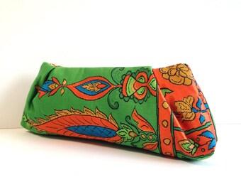 Japanese obi and kimono clutch bag in green