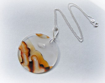 Agate necklace for women, statement pendant, large Montana agate disc sterling silver necklace, large circle pendant, brown necklace