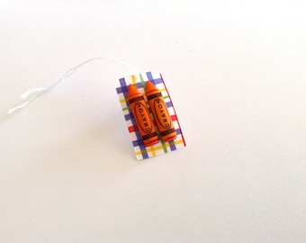 Orange Crayon Earrings - Crayon Earrings - Nostalgic - Gift under 5 dollars - Funky