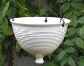 Large modern ceramic planter hanging white pottery glazed geometric Urban Garden gardening Bowl, Wheel thrown plant flower pot MADE TO ORDER