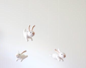 NEW design! nursery mobile - baby crib mobile - animal mobile - bunny mobile - made to order