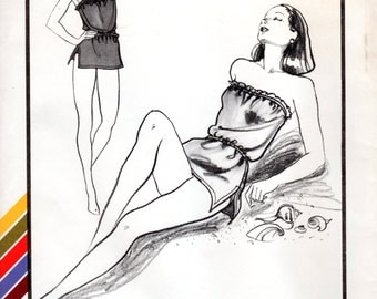 1980s Blouson Swimsuit or Romper - Vintage Pattern Stretch & Sew 1336 - Size 28 to 50 UNCUT