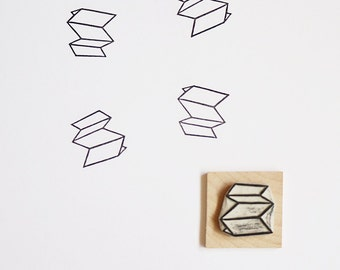 Folded Paper - Hand Carved Rubber Stamp