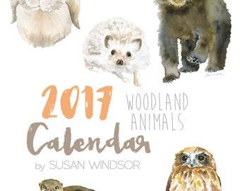 2017 Calendar - Woodland Animal 4 x 6 Desk Calendar - 12 Month - Watercolor Art