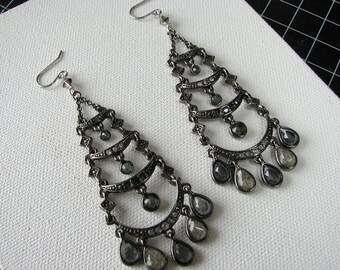 Chandelier earrings silver | crescent moon | long earrings | dangle | bohemian