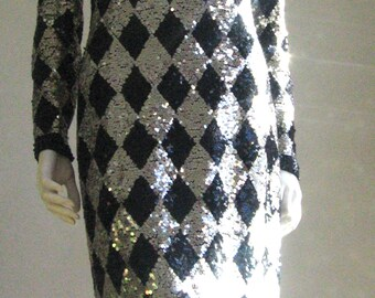 80s vintage  adriene vittadini sequin dress silver and black