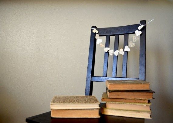 Vintage Book Heart Garland, chair length