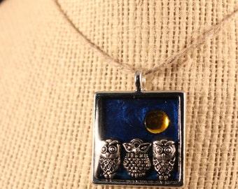 Three Night Owls Charm Epoxy Pendant