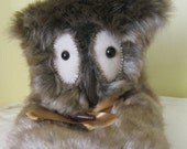Mens Novelty Owl Slippers,Brown Fleck Faux Fur,Made to Measure,Plush Lining,US Man's Size 12-13,Warm Footwear,Easter Present,Easter Gift.