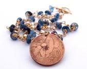 London Blue Topaz Necklace with Authentic 1921 Italian Art Nouveau Coin, Art Nouveau Necklace, Art Nouveau Pendant