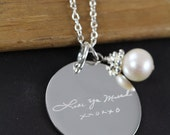 Engraved Handwriting Jewelry Pendant Necklace,  925 Sterling Silver