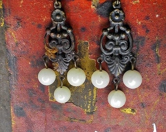 25 DOLLAR SALE Rustic Chandelier Earrings - Vintage Dark Brass & Antique Peeled Pearls- Shabby White Glass Rounds - Goth Dangles