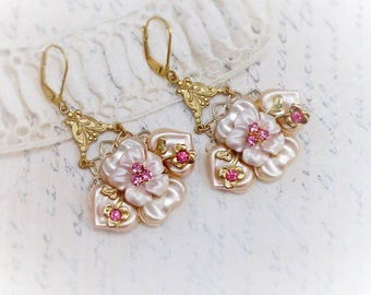 Pink Pearl Bouquet, Vintage Pearly Pink 1950s and Pink Rhinestone Altered Haskell Style  Earrings by Hollywood Hillbilly
