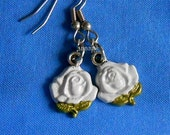From USA White Rose Earrings - Surgical Steel French Hooks