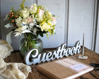 "Wedding Guestbook Sign, Freestanding ""Guestbook"", Wooden Wedding Sign for Reception Decor (Item - TGU100)"