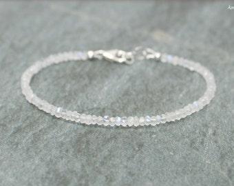 Moonstone Bracelet, Moonstone Jewelry, Blue Flash, Layering, Stacking, Gemstone Jewelry