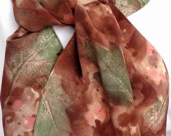 silk scarf Autumn Hydrangea brown coral sage crepe large long luxury painted unique