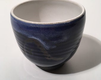 Handthrown ceramic bowl - cobalt blue, white, rust, handthrown, medium-size