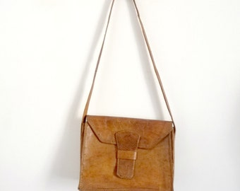 Handbag shoulder strap Leather Reptile Brown SAHARA Vintage 70s