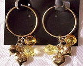 Puffed Hearts Yellow Beads Endless Hoops Pierced Post Stud Earrings Gold Tone Vintage Faceted Clear Smooth Dangles