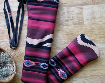 Native Flute Bag, Shakuhachi, Drumstick Pouch, Pipe Case, Medicine Bag -  Wool Plush Lined Leather Draw 25.5 x 4.5