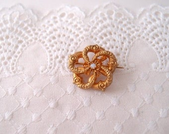 antique Love Knot Brooch / Victorian rolled gold Opal stone Algerian Lover's Knot Brooch Pin
