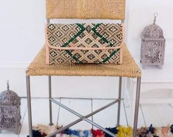 Autumn Gift Ideas, Moroccan Green Turquoise Kilim Hand Clutch with Shoulder Straps Berber style-bag, tote, handbag, purse, holiday gifts