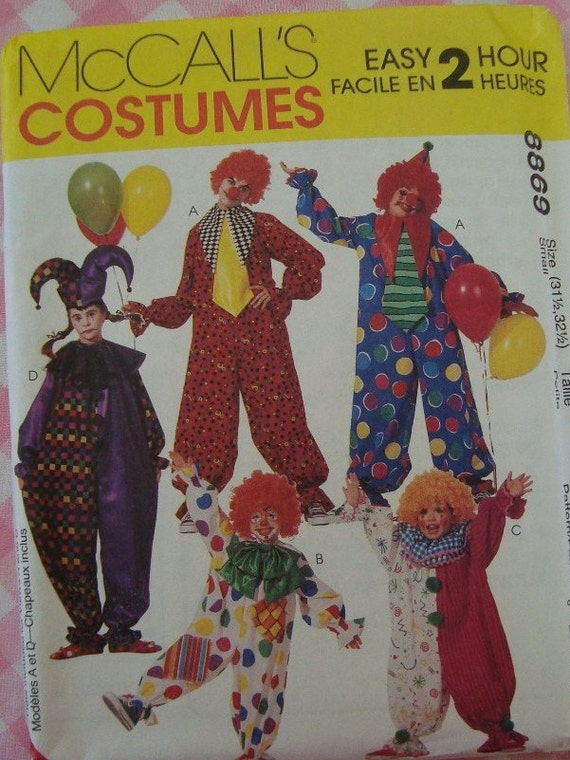 Easy to Sew Childs Clown Costumes Size Small McCalls Pattern 8869 UNCUT Halloween Boys Girls Kids Childrens