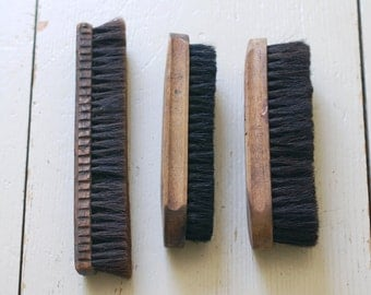 COLLECTION of Vintage Wood Brushes - Set of 3 Shoe Brushes