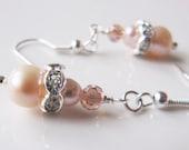 Peach pearl earrings, crystal dangle earrings, small earrings, for her, romantic jewelry, Europe