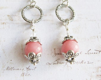 Pink earrings, long earrings, pink jewelry, romantic jewelry, gift for her
