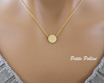 Round Disc Necklace in Matte Gold. Simple Necklace. Collarbone Necklace. Layering Necklace. Timeless. Gift For Her  (PNL- 44G)