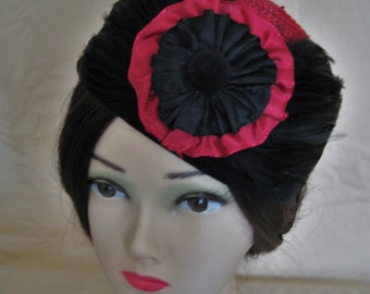 Civil War/Victorian Hat/Toque. 1860's Dickens. Red straw and Black Velvet.