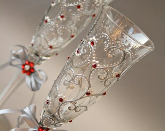 Champagne Flutes, Wedding Glasses, Heart glasses, Silver Red Glasses, Christmas Glasses, Hand Painted, Set of 2