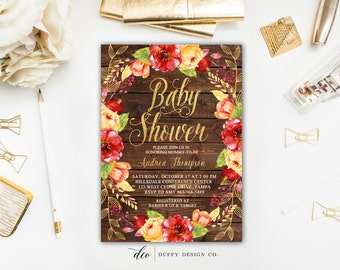 Baby Shower Invitation, Baby Shower Invite, Rustic Baby Shower Invite, Red  Gold Baby